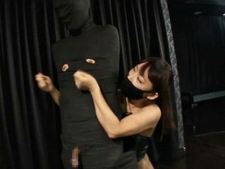 43193 - Ninja girl jerking off her captured slave!
