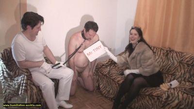 Couple's Cuckold Slave on a Leash